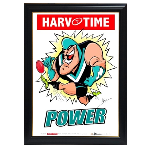 Port Adelaide Power, Mascot Print Harv Time Print Framed - 4168