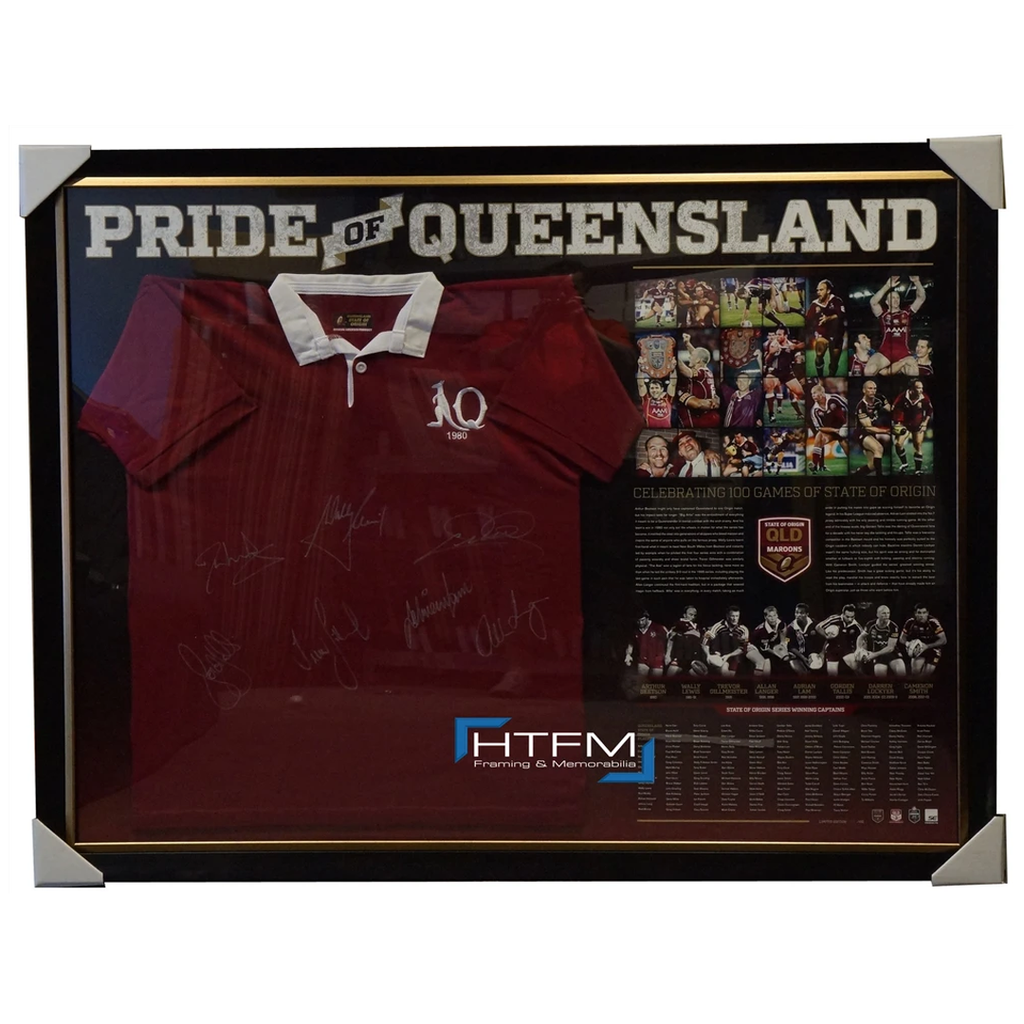 Pride of Queensland State of Origin Captains Signed Jersey Framed x 7 Signatures - 1068