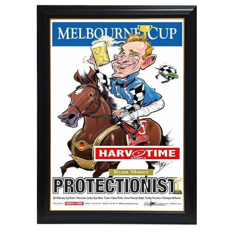 Protectionist, 2014 Melbourne Cup, Harv Time Print Framed - 4259