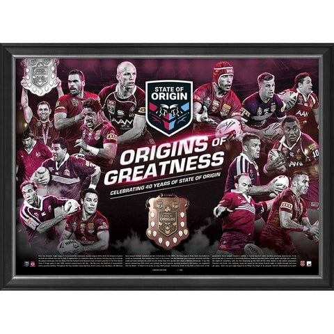 Queensland Maroons Origins of Greatness Official Nrl Print Framed - 4573
