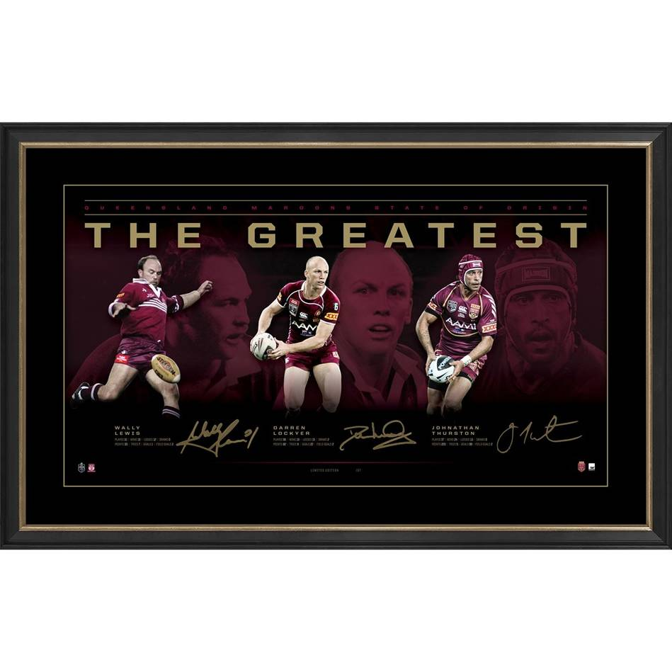 Queensland Signed Official Nrl the Greatest Print Framed Lewis Lockyer & Thurston  - 4456
