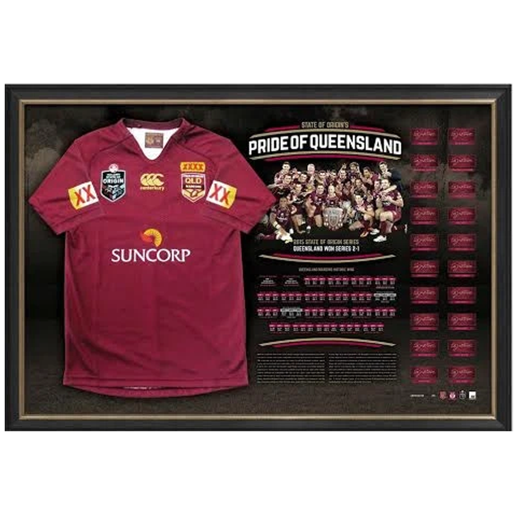 Queensland 2015 Signed Team Official State of Origin Champions Jersey Framed - 2508