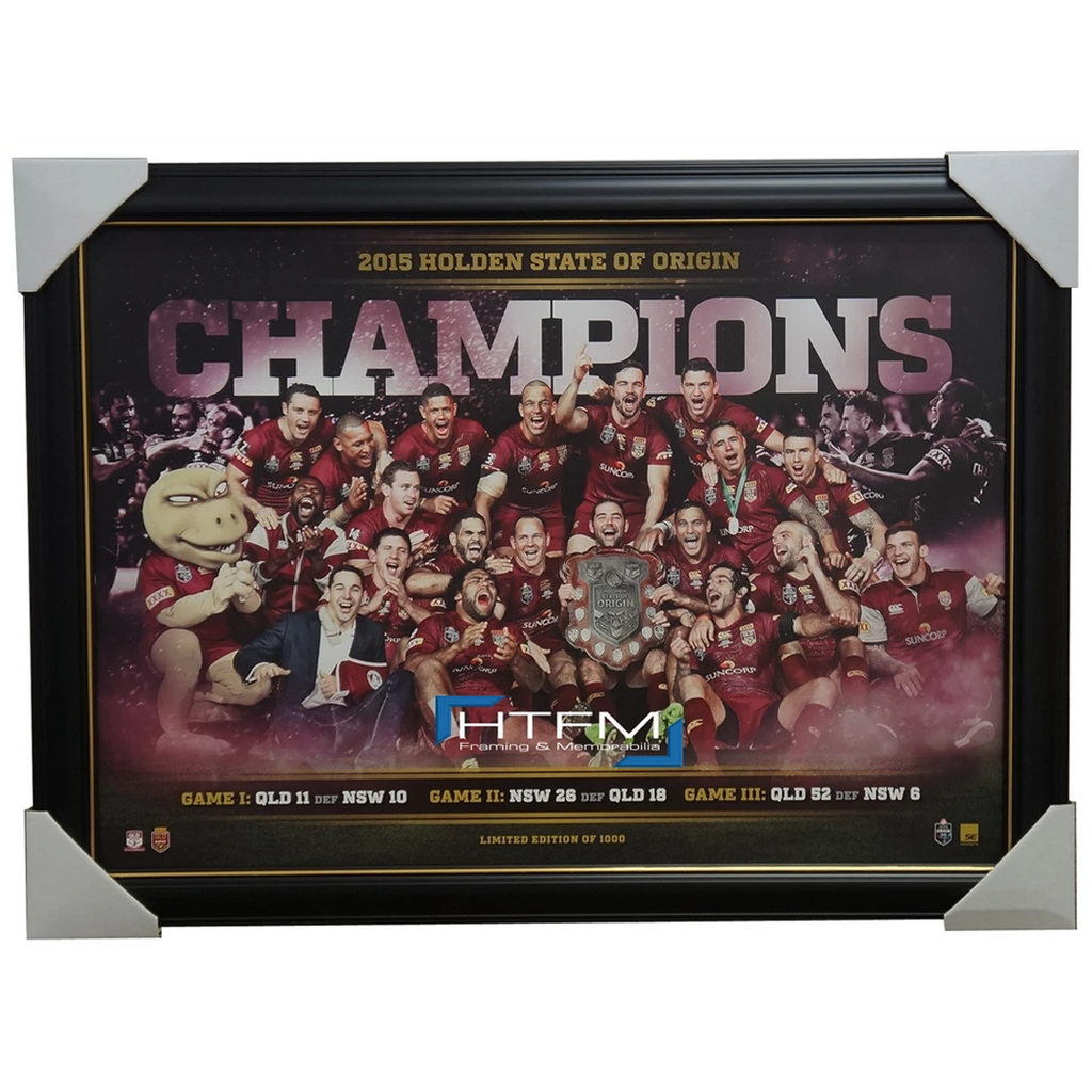 Queensland 2015 State of Origin Champions Sportsprint Framed Inglis Smith - 2510