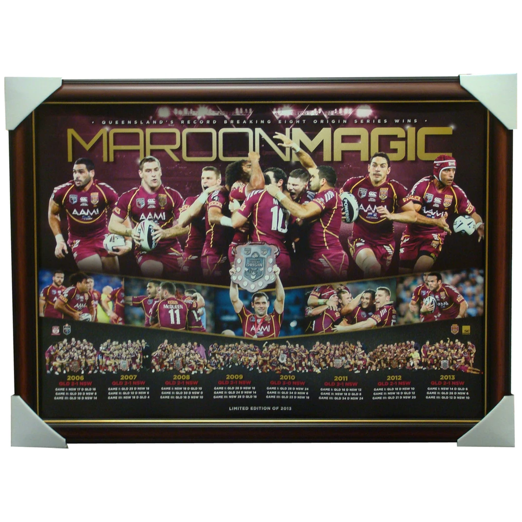 Queensland Maroon Magic 2013 State of Origin 8th Success Sports Print Framed - 1405