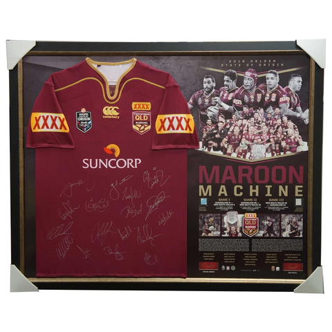 Queensland Maroons Signed 2016 Signed Official Team Jersey Framed Maroon Machine Cronk Smith - 2911 ON SALE NOW