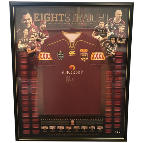 Queensland Maroons State of Origin Eight Straight Signed Official Jersey Framed - 3855