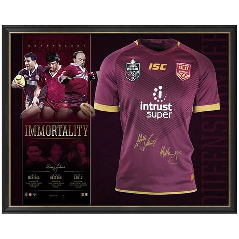 Queensland Signed Official NRL Immortals Jersey Framed Wally Lewis Mal Meninga Beetson - 3564