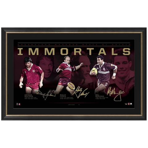 Queensland Signed Official NRL Immortals Print Framed Wally Lewis Mal Meninga Beetson - 3565