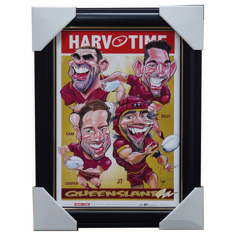 Queensland State of Origin Retired Players Print Framed Slater Smith Cronk & Johnathan Thurston - 3475