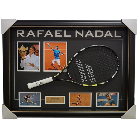Rafael Nadal Grand Slam Champion Signed Tennis Racket with Photos Framed + COA - 2655