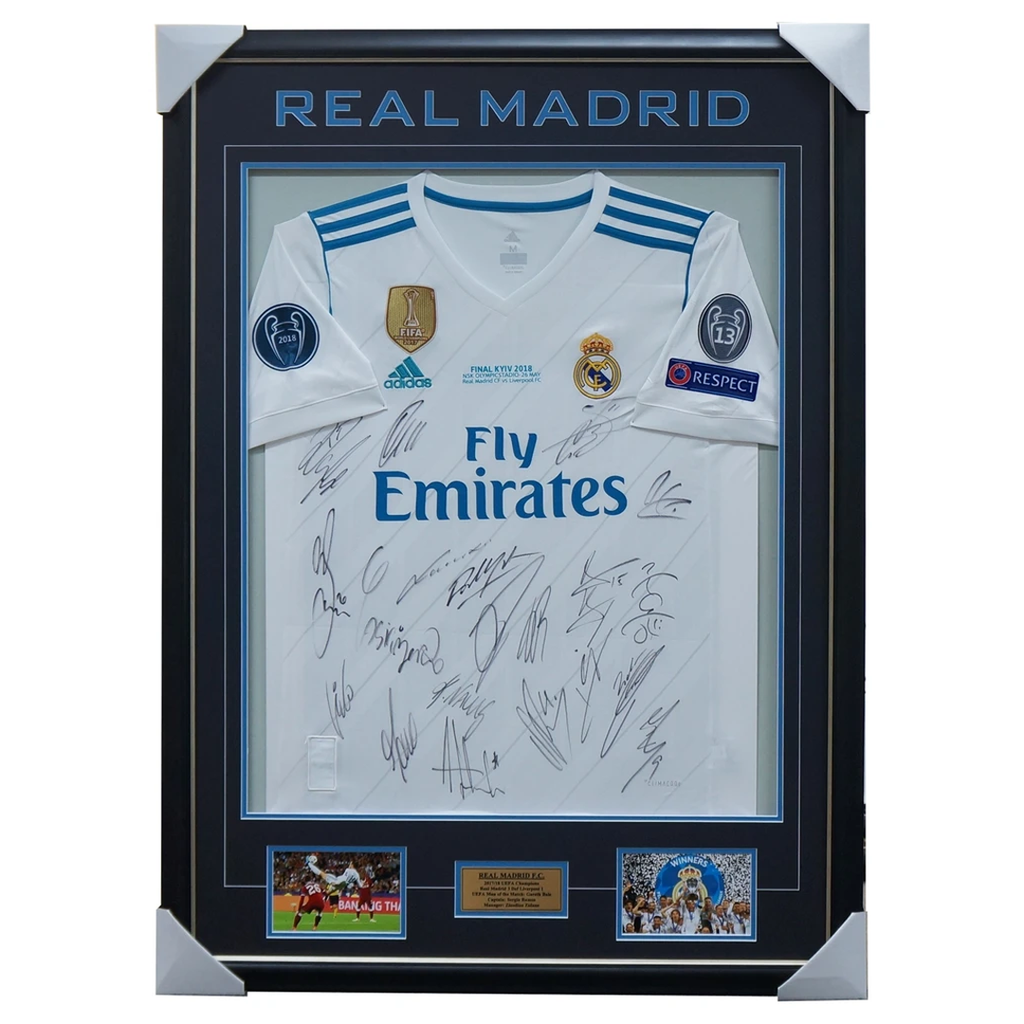 Real Madrid 2018 Champions League Team Signed Jersey Framed RONALDO + COA RARE - 3462