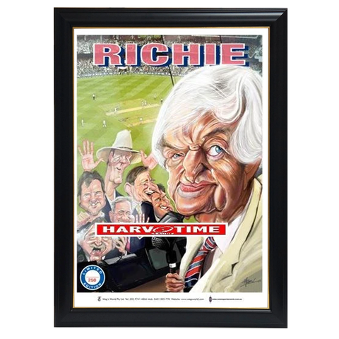 Richie Benaud Cricket, Harv Time Print Framed - 4260