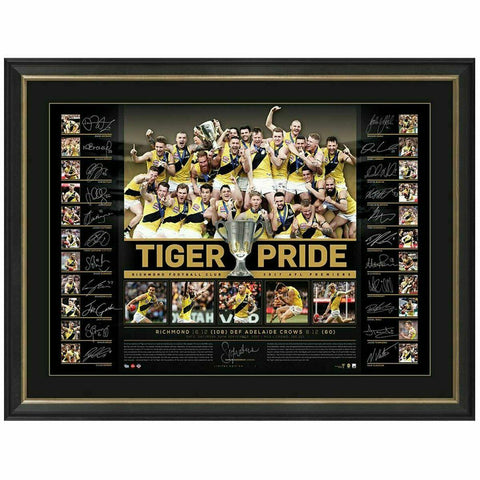 Richmond 2017 Hand Signed Official AFL Team Print Framed Tiger Pride - 4461