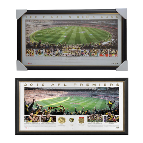 Richmond 2017 & 2019 Afl Premiers Official Panoramic Mcg Prints Framed Package Deal - 3851