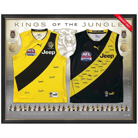 Richmond 2017 & 2019 Premiers Dual Team Signed Official AFL Jumpers Framed - 3823