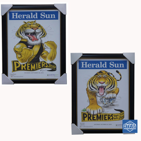 2019 & 2020 AFL Premiers Richmond Tigers Mark Knight Herald Sun Print Framed Package - 4692