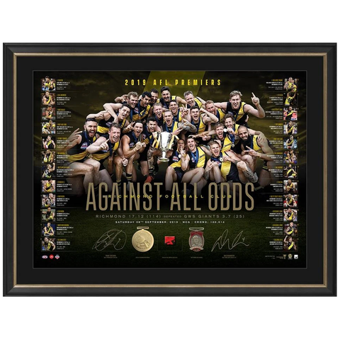 "Richmond 2019 Afl Premiers Official Dual Signed Lithograph Framed Martin ""Against All Odds"" - 3806"