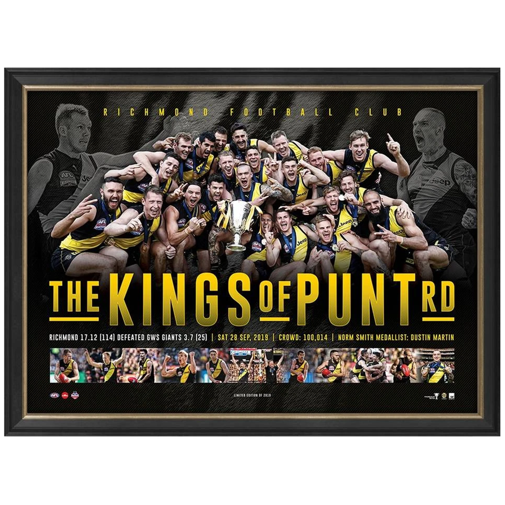 "Richmond 2019 AFL Premiers Official Framed Sportsprint ""KINGS OF PUNT RD"" - 3809"