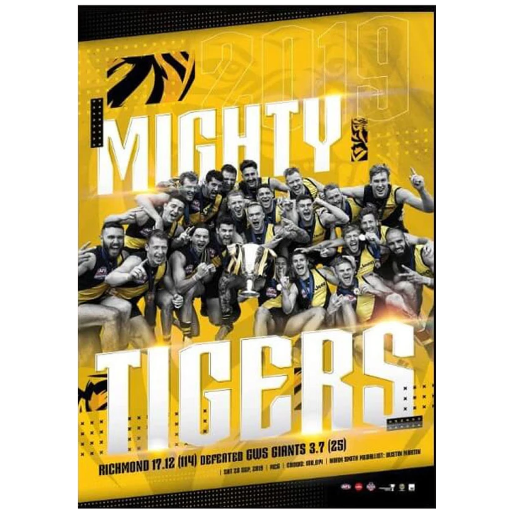 "Richmond 2019 AFL Premiers ""The Mighty Tigers"" Official Print ONLY - 3853 FREE SHIPPING"