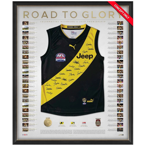 Richmond 2019 Premiers Team Signed Official AFL Guernsey Deluxe Frame - 3824
