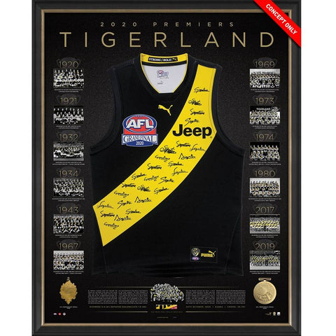 Richmond 2020 Afl Premiers Signed Official Deluxe Team Jumper Framed - 4571