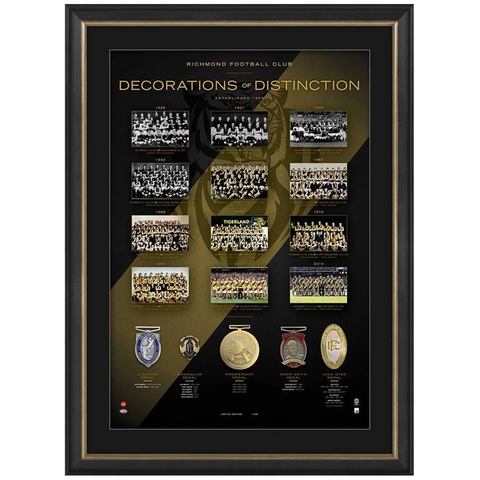Richmond Football Club Decorations of Destinction With 5 Medals Framed 2019 Premiers - 3914 New