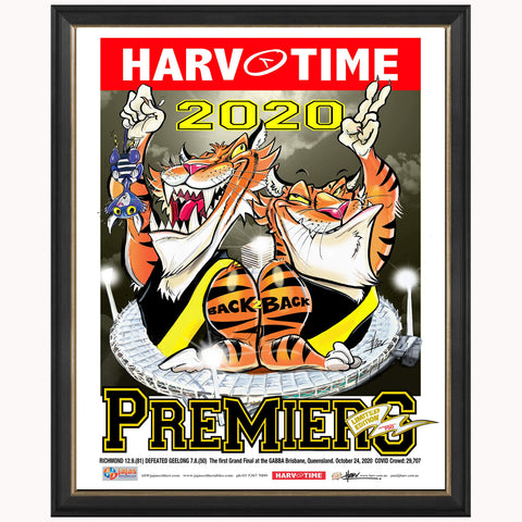 2020 Premiers Richmond Tigers Harv Time Limited Edition Print Framed - 4666