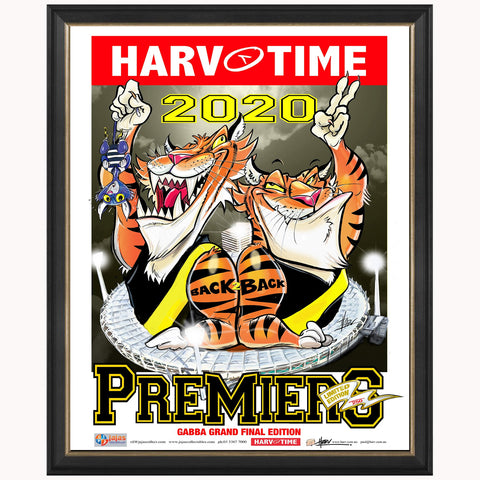 2020 Premiers Richmond Tigers Harv Time Match Day Limited Edition Print Framed - 4667