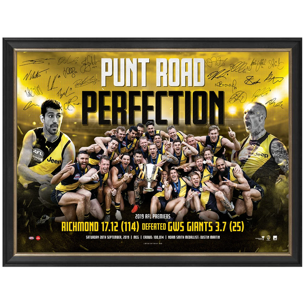 "Richmond Signed 2019 AFL Premiers ""Punt Road Perfection"" Official Print Framed - 3822"