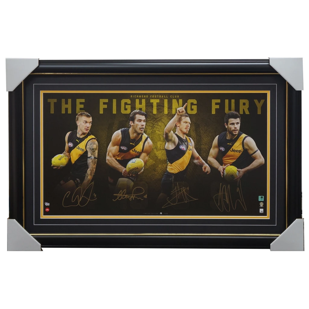 Richmond Signed Fighting Fury X 4 Sigs Afl Official Print Framed Martin Cotchin Rance Riewoldt - 3135