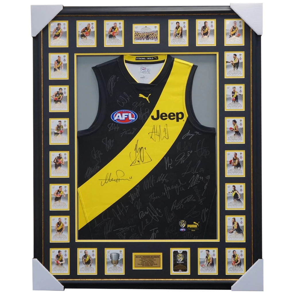Richmond Team Signed 2019 Jumper Framed with Premiership Cards - 3917