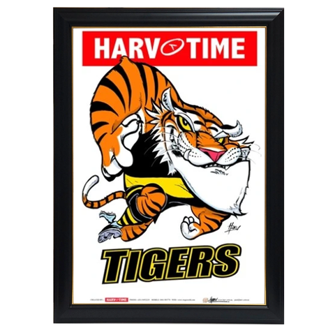 Richmond Tigers Mascot Print, Harv Time Print Framed - 4167