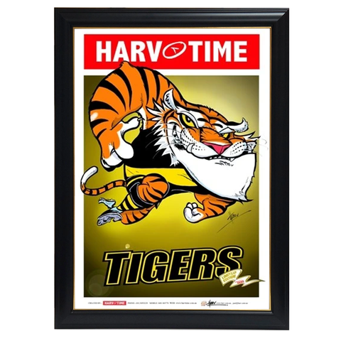 Richmond Tigers Mascot, Harv Time Print Framed - 4249
