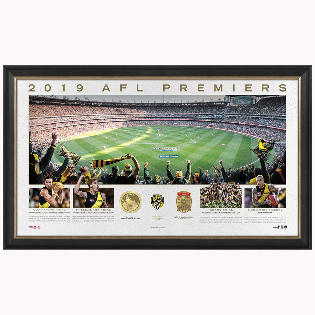 Richmond 2019 AFL Premiers Official Panoramic MCG Print Framed- 3820
