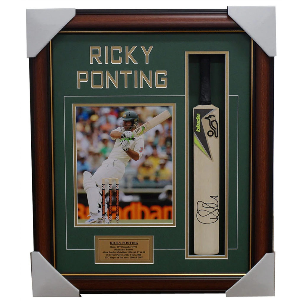 Ricky Ponting Australia Cricket Signed Mini Bat Collage Framed - 1356
