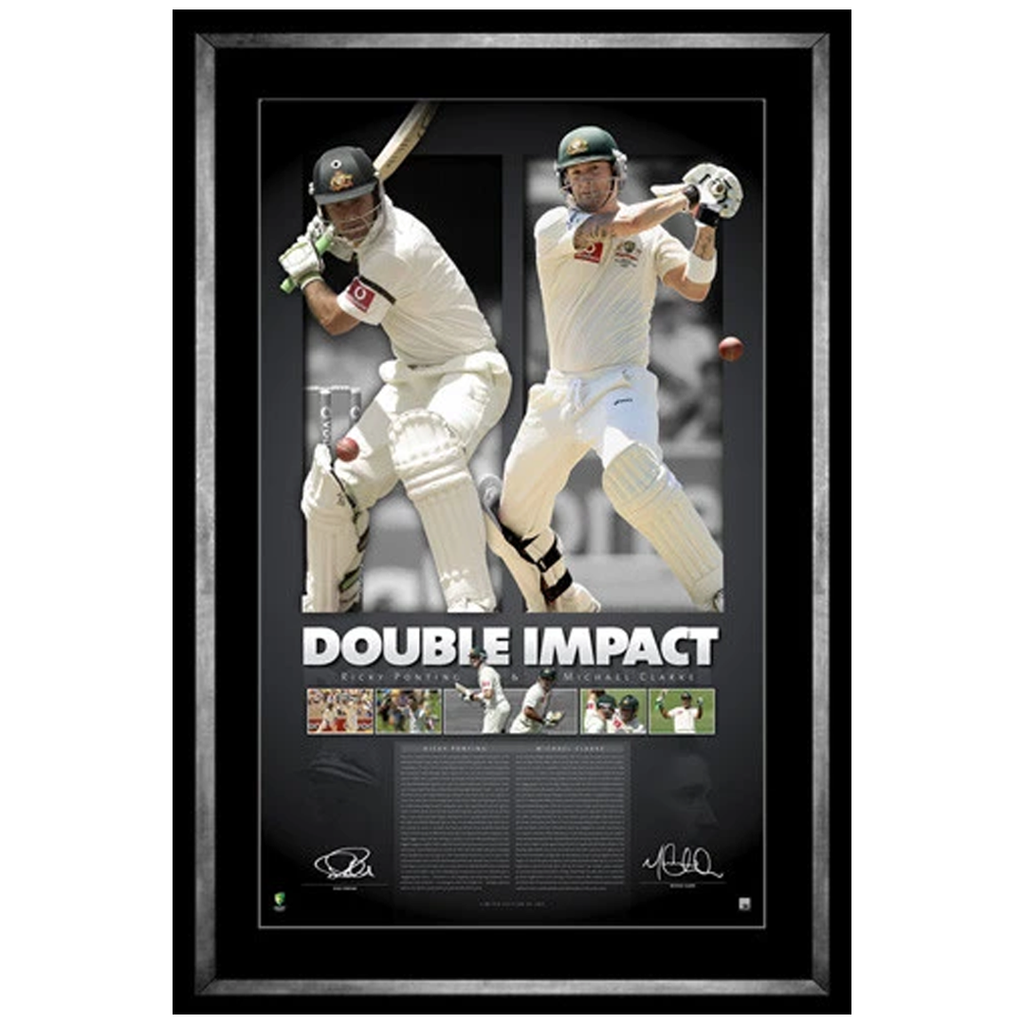 Ricky Ponting & Michael Clarke Double Impact Signed Official Licensed Print Framed - 3943