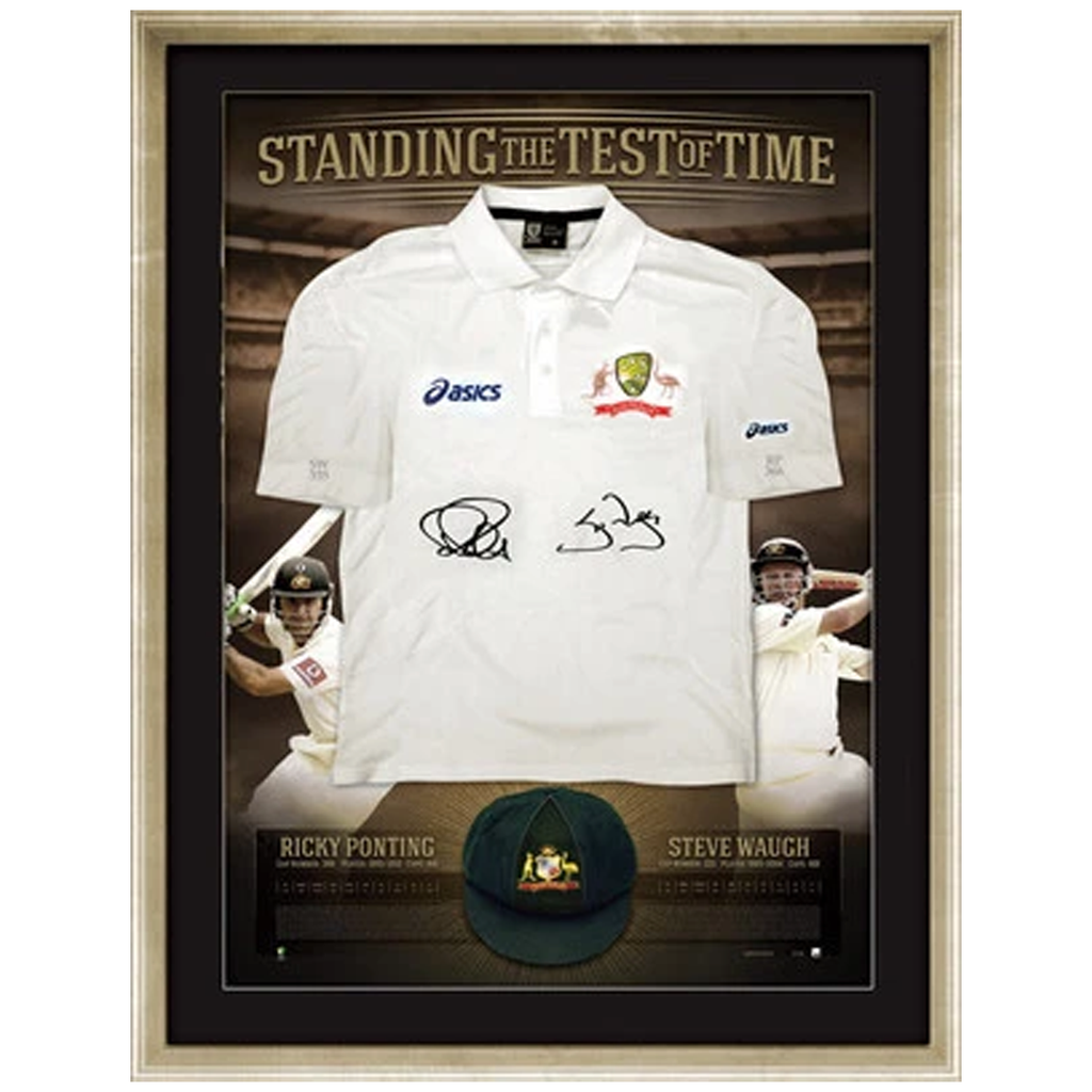 "Ricky Ponting and Steve Waugh Signed Test Shirt ""Standing the Test of Time"" Framed - 1131"