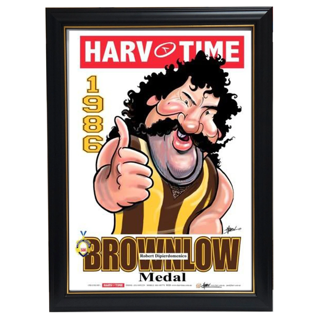 Robert Dipierdomenico 1986 Brownlow Hawthorn Harv Time Limited Edition Print Framed - 3610