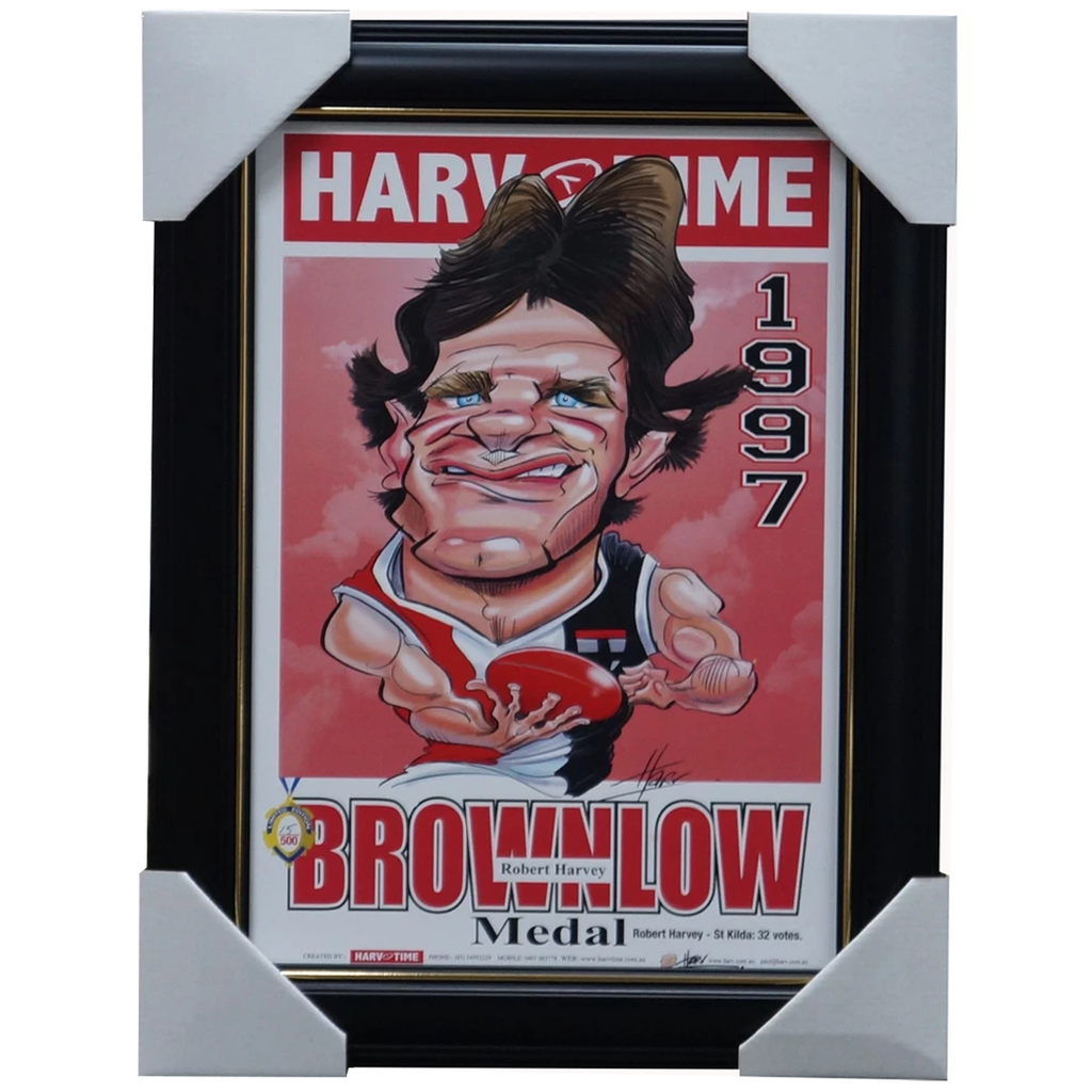Robert Harvey 1997 St Kilda Brownlow Medal Caricature Harv Time Print Framed - 3477