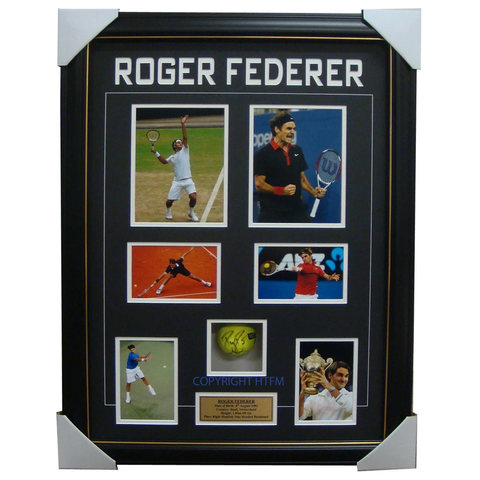Roger Federer Grand Slam Champion Signed Tennis Ball With Photos Framed + Coa - 1201