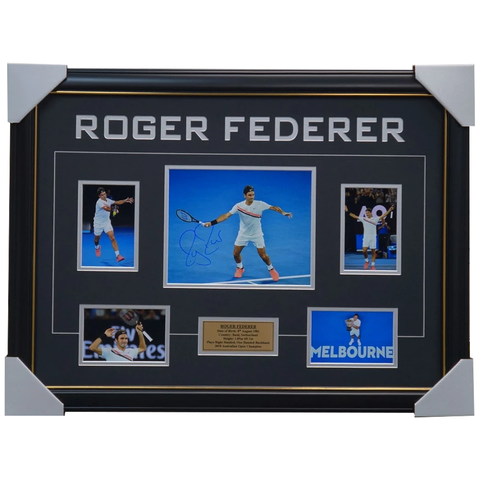 Roger Federer Signed Photo Collage Framed 2018 Australian Open GRAM SLAM CHAMPION - 1234