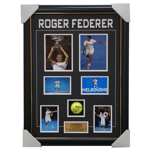Roger Federer Signed Tennis Ball Box Framed 2018 Australian Open Champion - 2498