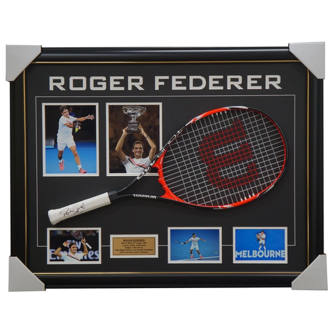 Roger Federer Signed Tennis Racket with Photos Framed 2018 Australian Open Champion - 1667