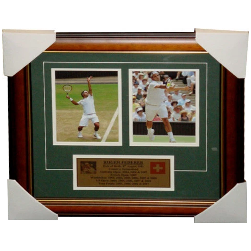Roger Federer Wimbeldon Champion Photo Collage Framed - 3199