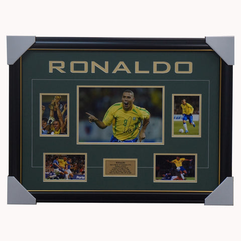 Ronaldo Signed Brazil World Cup Photo Collage Framed - 4537