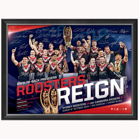 Sydney Roosters 2019 Premiers Back to Back NRL Team Signed Official Print Framed - 3846