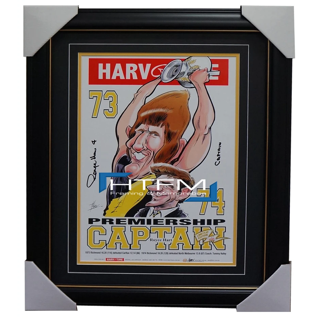 Royce Hart Richmond 1973 74 Premiership Captain Signed Limited Edition Print Framed - 1895