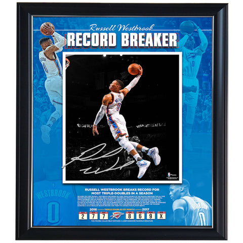 "Russell Westbrook Oklahoma City Thunder Fanatics Authentic Framed 16"" X 20"" Triple-double Record Breaking Floated Photo Collage With Engraved Facsimile Signature Frame - 4587"