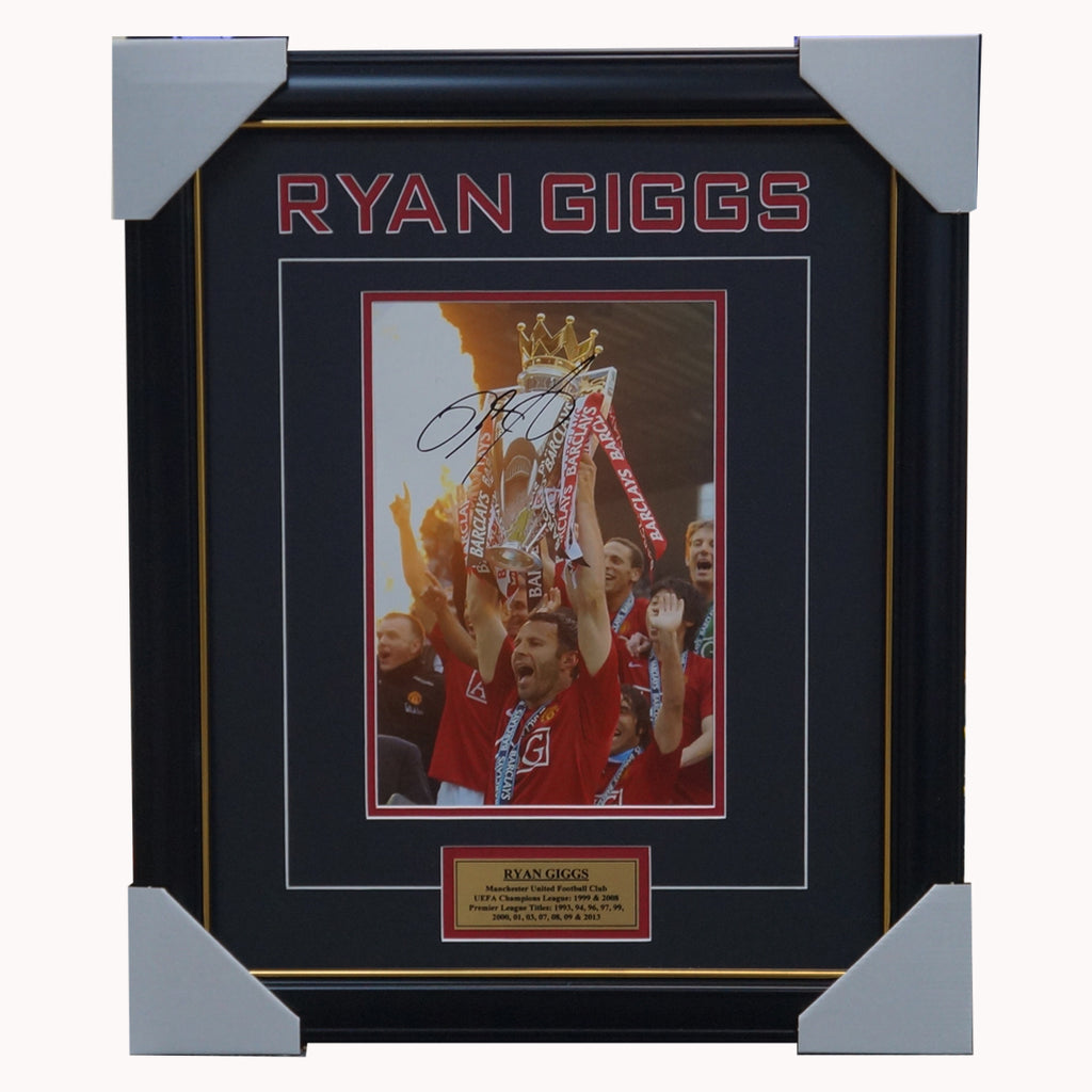 Ryan Giggs Signed Manchester United Photo Framed With Plaque + Coa - 2255