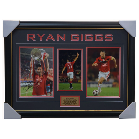 Ryan Giggs Signed Manchester United Photo Framed With Plaque + Coa - 3773